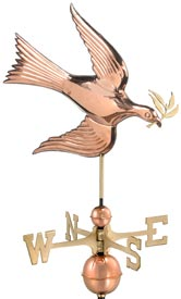 Peace Dove Holding Olive Branch Weathervane in Polished Copper