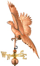 Handsome Pheasant Weathervane in Polished Copper