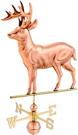 Standing Deer Weathervane in Polished Copper