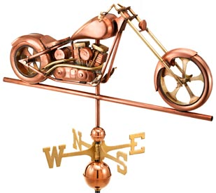 Chopper Motorcycle Weathervane in Polished Copper