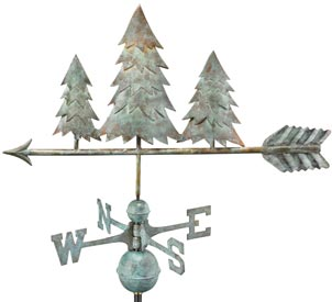 Rustic Pine Trees Weathervane in Blue Verde Copper