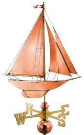 Racing Sloop Sailboat Weathervane in Polished Copper